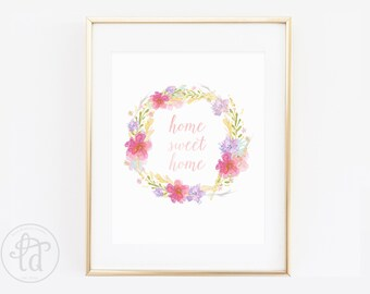 Home Sweet Home Floral Wreath Print - 8 x 10 - INSTANT DOWNLOAD