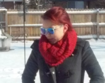 Beautiful Red Infinity Scarf (Cowl, Circle)
