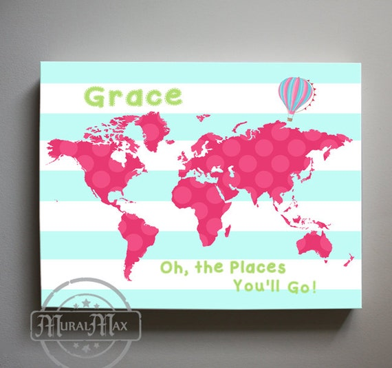 girl nursery decor world map canvas art oh the places. Black Bedroom Furniture Sets. Home Design Ideas