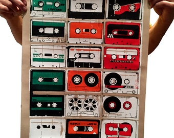 "5 Color Cassette Tape Screen Print  18""x24"""
