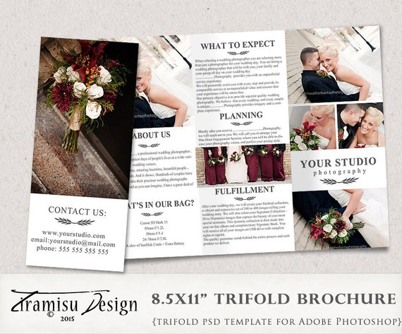 brochure template photoshop - wedding photography guide trifold brochure photoshop