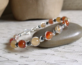 Agate & Carnelian Bracelet / Handmade Wire Wrapped Jewelry / Silver Wire Bracelet /  Stone Jewelry - Silver / Yellow / Orange - 7 1/2 in