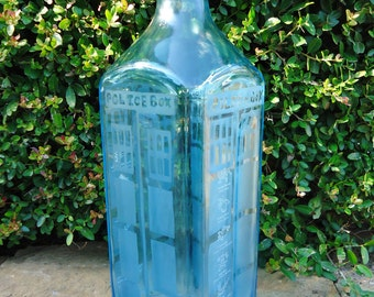 Doctor Who Tardis Hand Etched Bottle from a Bombay Sapphire Gin Bottle OOAK