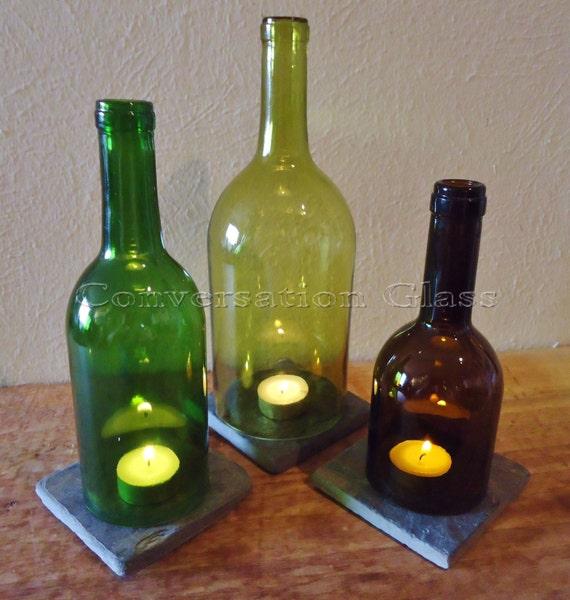 Items Similar To Wine Bottle Candle Holders Tea Light