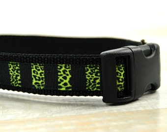 Animal Print Dog Collar, Black and Green Dog Collar, Adjustable Dog Collars