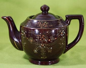 10 DOLLAR SALE---Vintage 60's Handpainted Brown & Orange Floral Pattern Teapot Made in Japan