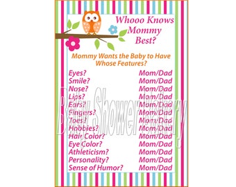 Owl Theme Baby Shower Game, Who Knows Mommy Best, Girl Owl Baby Shower Game, Colorful Owl Baby Shower, Pink Orange Blue and Green Owl Game