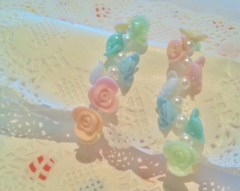 Rainbow Rose Bracelet - Hime Gyaru Pastel Kawaii