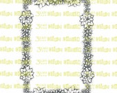 Poinsettia, Holly, and Mistletoe Christmas Border Digital Stamp Instant Download