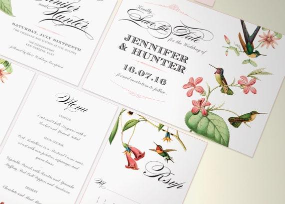 Hummingbird Wedding Invitations: PRINTABLE Hummingbird Wedding Invitation Suite By VanillaRetro