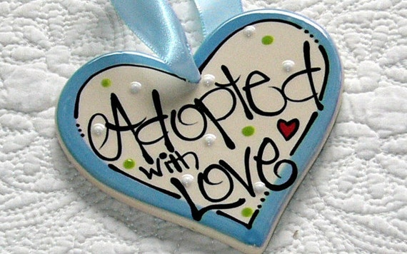 Personalized Adoption Ornament  'Adopted with Love'