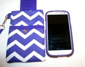 Purple Chevron Cell Phone Bag Wristlet or Cross Body Bag iPhone 6, 6 Plus Bag Detachable Strap Digital Camera Bag MP3 Player Bag or iPod Bag