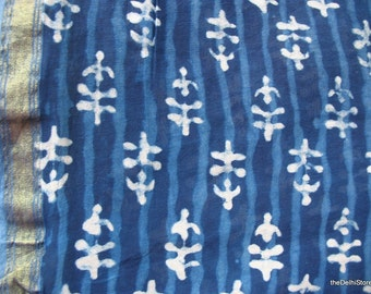 Cotton SilkVegetable Dye Indigo Fabric Sold by Yard