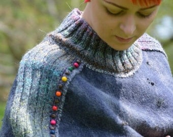 Contemporary style fashion felted cape-cocoon from natural silk and A-Grade merino wool (with hand knitted fragments) OOAK - to order!