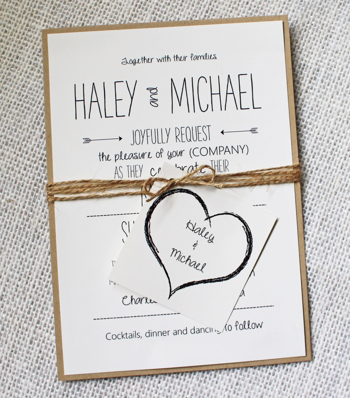 Rustic Wedding Invitation Ideas: Whimsical Wedding Invitation Rustic Chic Wedding Invitation