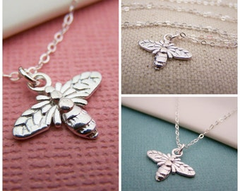 Tiny Bee Necklace - Bumblebee Tiny Sterling Silver Bee Necklace Simple Jewelry Everyday Necklace / Gift for Her - Insect Jewelry
