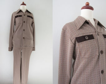 70s Brown Plaid Jacket Suit by Campus Coordi Knits w/ Flared Pants, S-M, W29, MINT Condition // Blazer Pants // Vintage Two-Piece Suit