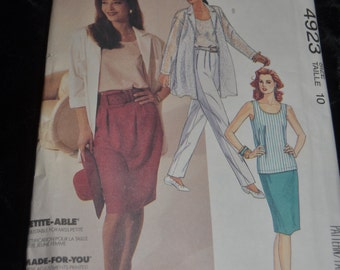 McCalls 4923 Misses Shirt Jacket Tank Top Skirt and Pants Sewing Pattern - Sizes 10 - UNCUT