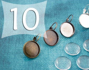16 mm Leverback Earring Trays Cabochon Settings Earring Blanks in Silver, Antique Bronze, Antique Copper and Gunmetal