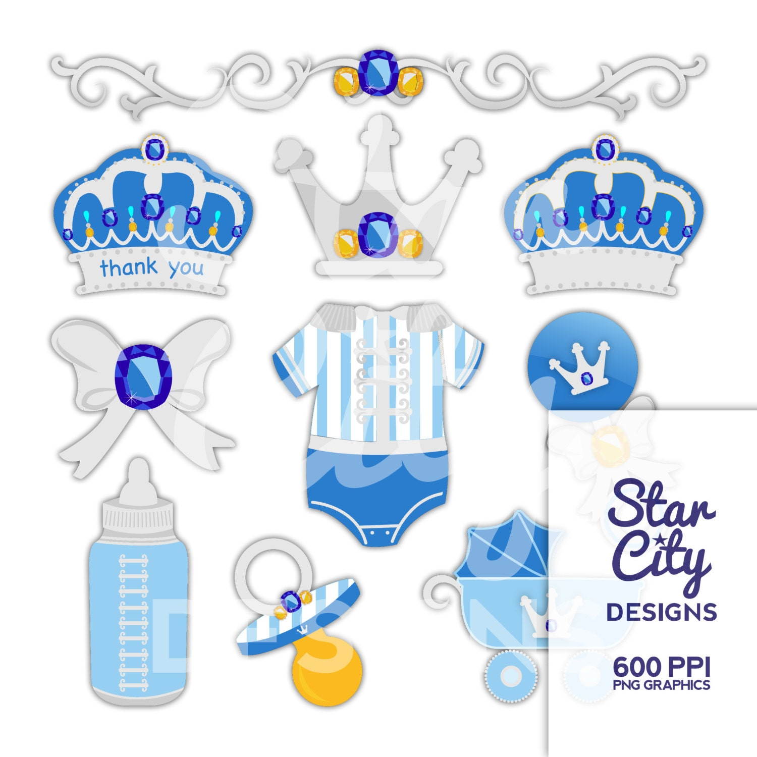 prince baby shower clip art for scrapbooking by starcitydesigns
