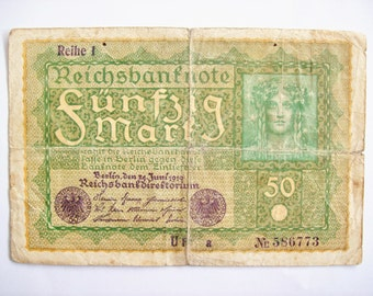 Vintage Germany Deutche 50 marks 1919 Reich banknote. German, Berlin, Reine 1 . art.6728 cm. 15,2x10,2. For very collectors. rare.