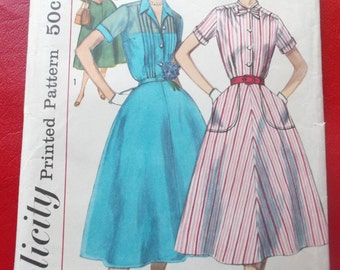 UNCUT and FF Pieces Vintage Simplicity 2070 Sewing Pattern Size 14 Misses One-Piece Dress