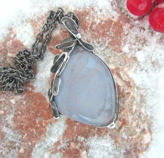 Handmade tinned copper pendant with chalcedony cabachone