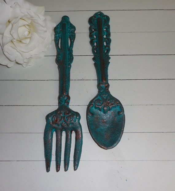 Kitchen Wall Decor Fork And Spoon: PATINA / Fork And Spoon Set / Kitchen Wall Art / By