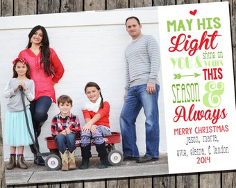 Photo Christmas Card | Subway Art Christmas Card | Religious Christmas Card | Photo Holiday Card {L19}