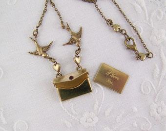 Lovebird Necklace, 'I Love You Envelope', Envelope Necklace, Valentine Necklace, Swallow Necklace, Gold Bird Necklace, Lovebird  Envelope