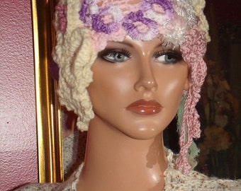 Colored  Crochet Flapper Hat Cloche  Antique style hat