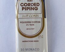 Vintage J&P Coats Monaco Blue Bias Corded Piping Trim