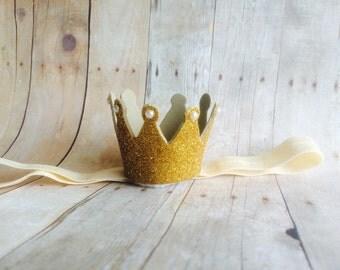 Baby headband crown, gold crown, glitter crown, headband crown