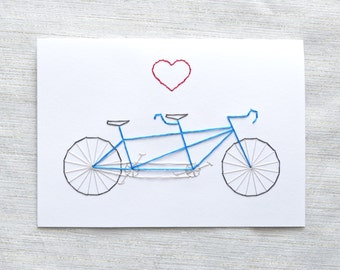 Tandem Bicycle Valentine - Embroidered Card