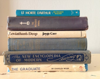Collection of Vintage and Antique Books, Blues and Whites