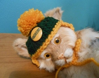 Crocheted Cat or Dog Hats  Green Bay Packers Football Sports Teams Pompom  X-Small and Small