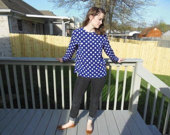 Vintage 1980's Liz Claiborne polka dot blouse.  Deep indigo with white polka dots.