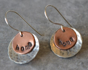No Place Like Home Mixed Metal Earrings Reclaimed Sterling Silver and Copper Hand Forged Ear Wires Hand Stamped Hand Hammered Eco Friendly
