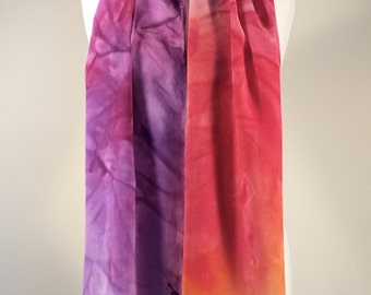 "14""X72"" silk hand painted one-of-a-kind, signed scarf by Richard Malinsky #50"