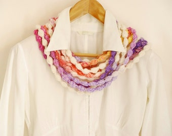 Infinity pompom scarf. Beads scarf. christmas gift. Stocking stuffer. Multicolor Chunky loop scarf, Fashion Scarf, Braid scarf, gift for her