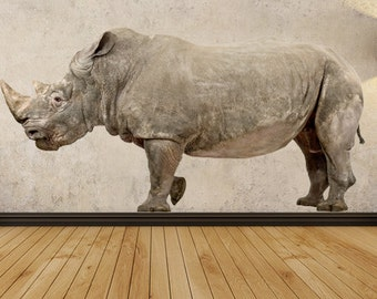 WSD214 - Large White Rhinoceros marching, removable wall sticker - Animal photo wall decal