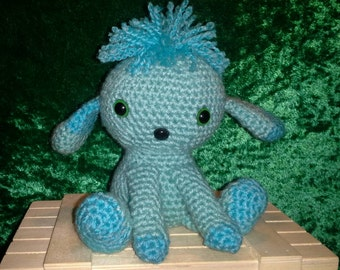 Crocheted Puppy Dog - Miniature Teal