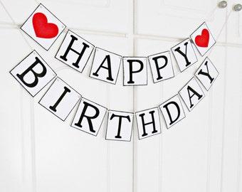 FREE SHIPPING, Happy Birthday banner, Birthday decorations, Happy birthday sign, Happy birthday decor, Birthday garland, Party decor, Red