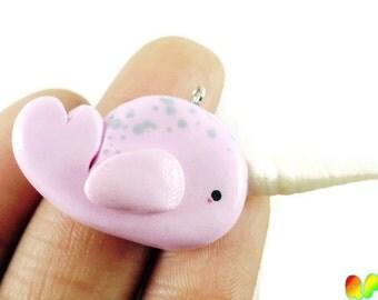 Pink Narwhal Polymer Clay Charm, Unicorn Whale, Fairy Kei Charms,Ocean Creature, Kawaii Narwhal, Kawaii Charms
