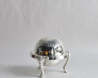 Vintage Silver Plated Flip Top Butter Holder
