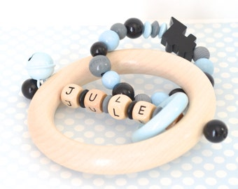 Personalized wooden teether, wood toy, baby rattle, rattle teether, custom gift, beaded toy, baby boy, baby gift, personalized baby gift