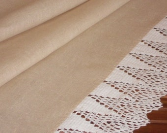 Beige runner sand natural linen table runner with lace