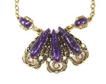 Purple Confetti Lucite Necklace Faux Pearl Accents