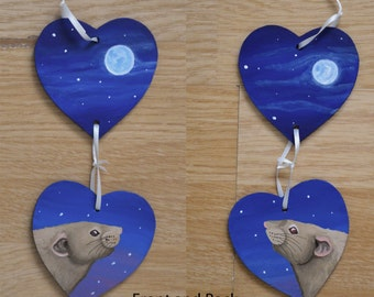 Silver Fawn Rat under the Moonlight Hanging Heart