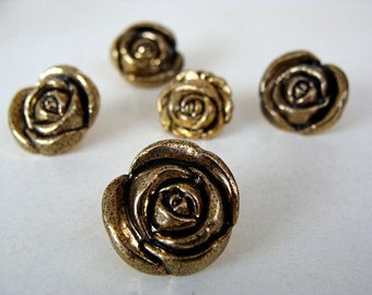5 Rose Buttons Shanked Supply Gold With Black Tones